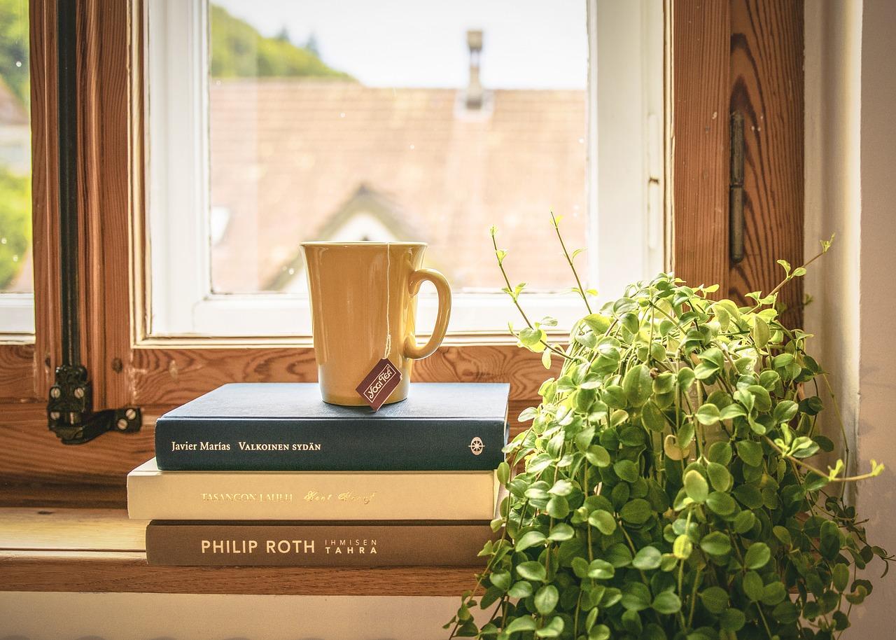 窓と本とマグカップ